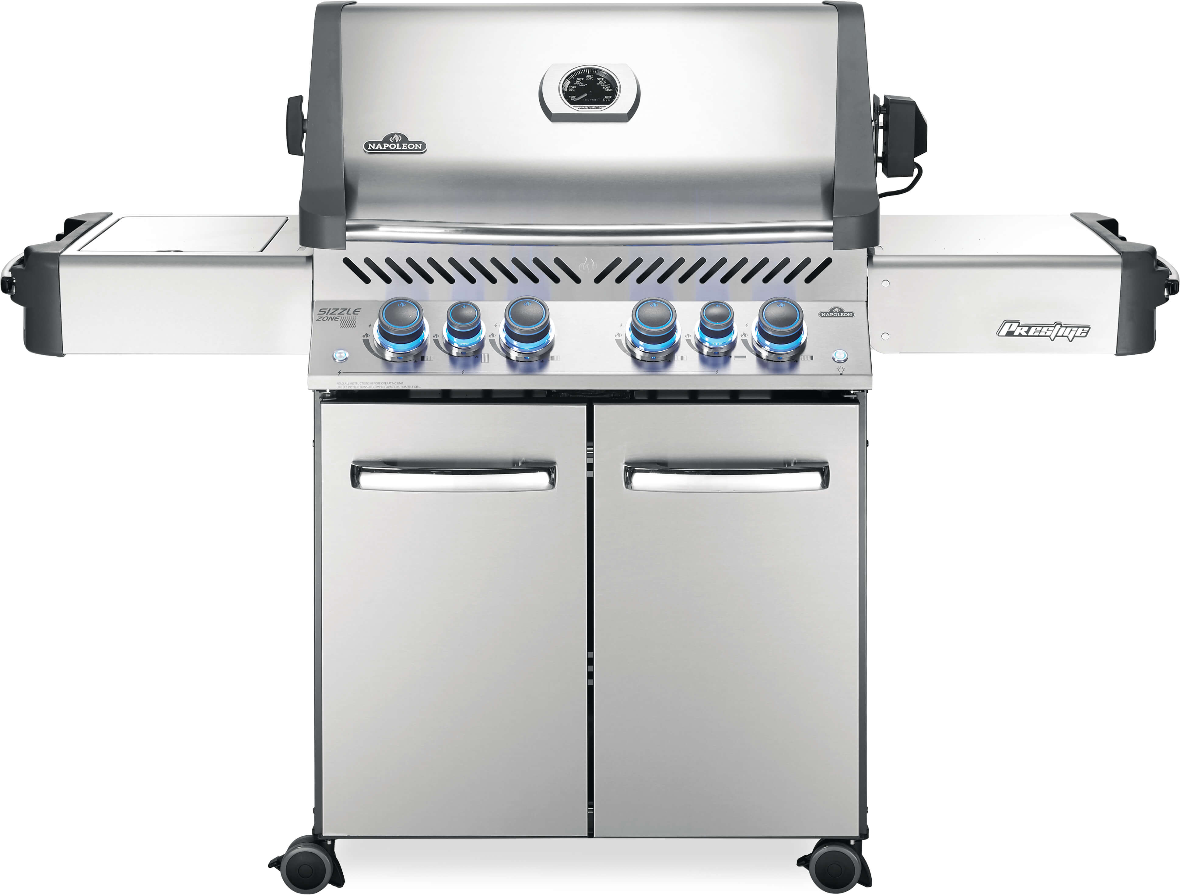 Prestige® 500 Natural Gas Grill with Infrared Side and Rear Burners, Stainless Steel